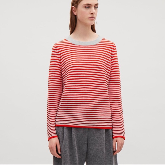 Scoop Neck New Striped Fine Knit Jumper